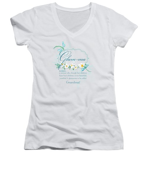Glam-ma Grandma Grandmother For Glamorous Grannies Women's V-Neck T-Shirt (Junior Cut) by Audrey Jeanne Roberts