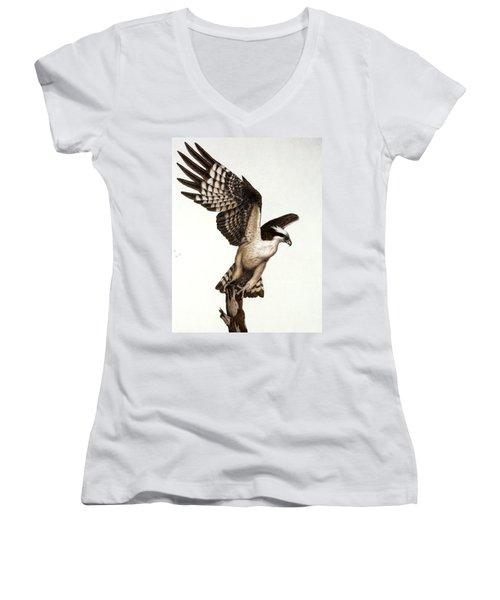 Going Fishin' Osprey Women's V-Neck T-Shirt (Junior Cut) by Pat Erickson