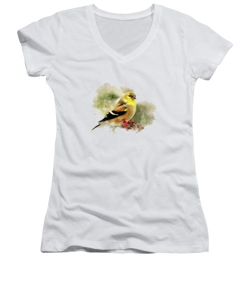 Goldfinch Watercolor Art Women's V-Neck T-Shirt (Junior Cut) by Christina Rollo