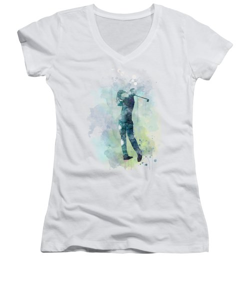 Golf Player  Women's V-Neck T-Shirt (Junior Cut) by Marlene Watson