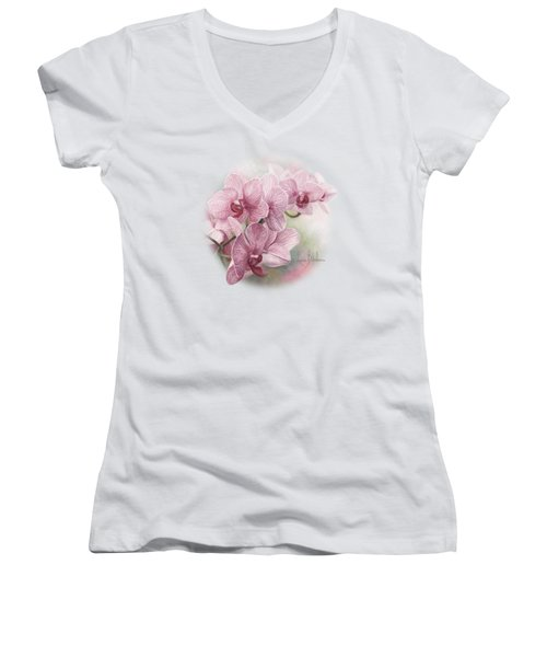 Graceful Orchids Women's V-Neck T-Shirt (Junior Cut) by Lucie Bilodeau