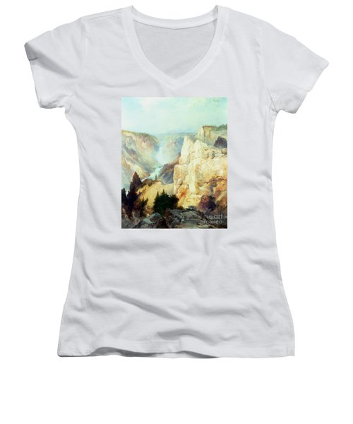 Grand Canyon Of The Yellowstone Park Women's V-Neck T-Shirt (Junior Cut) by Thomas Moran