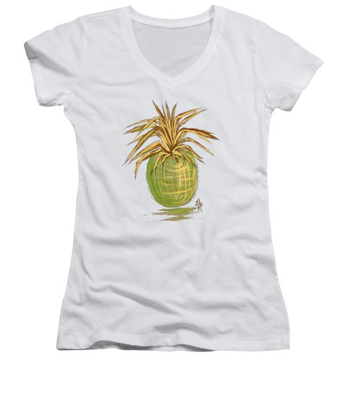 Green Gold Pineapple Painting Illustration Aroon Melane 2015 Collection By Madart Women's V-Neck T-Shirt (Junior Cut) by Megan Duncanson