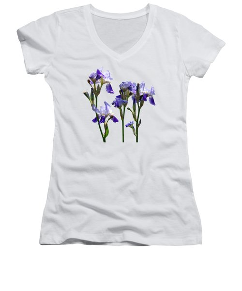 Group Of Purple Irises Women's V-Neck T-Shirt (Junior Cut) by Susan Savad