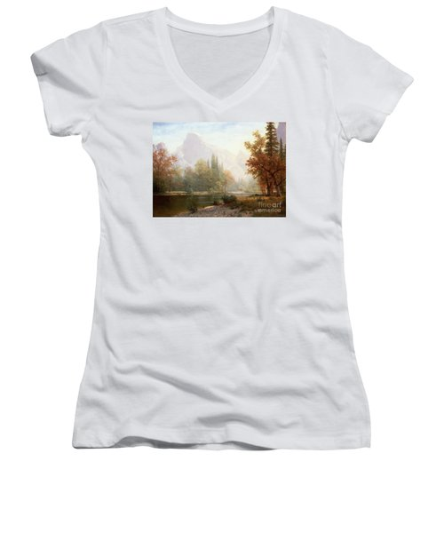 Half Dome Yosemite Women's V-Neck T-Shirt (Junior Cut) by Albert Bierstadt