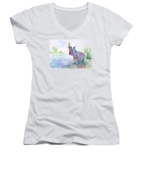 Hey Whats The Big Idea Women's V-Neck T-Shirt (Junior Cut) by Amy Kirkpatrick