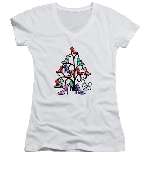 High Heels Tree Women's V-Neck T-Shirt (Junior Cut) by Anastasiya Malakhova