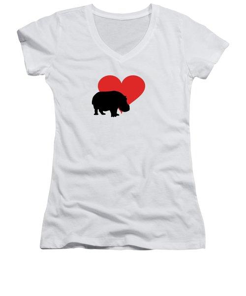 Hippopotamus Women's V-Neck T-Shirt (Junior Cut) by Mordax Furittus