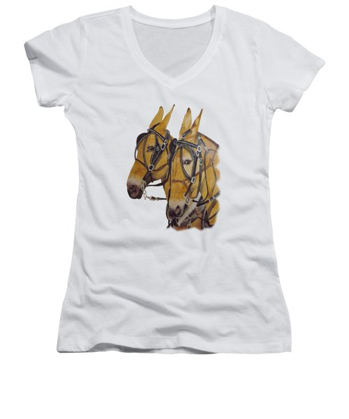 Hitched #2 Women's V-Neck T-Shirt (Junior Cut) by Gary Thomas