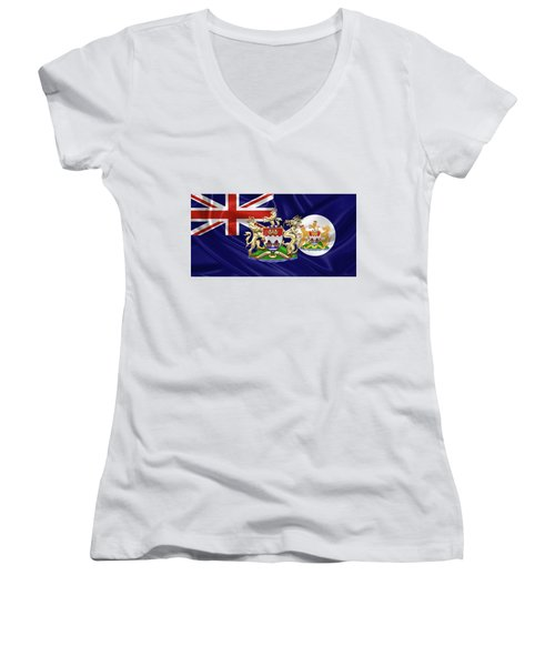 Hong Kong - 1959-1997 Historical Coat Of Arms Over British Hong Kong Flag  Women's V-Neck T-Shirt (Junior Cut) by Serge Averbukh