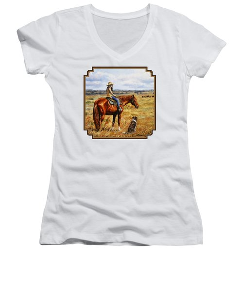 Horse Painting - Waiting For Dad Women's V-Neck T-Shirt (Junior Cut) by Crista Forest