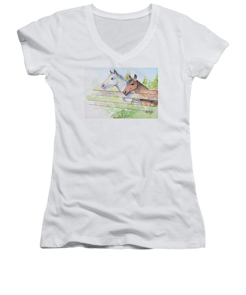 Horses Watercolor Sketch Women's V-Neck T-Shirt (Junior Cut) by Olga Shvartsur