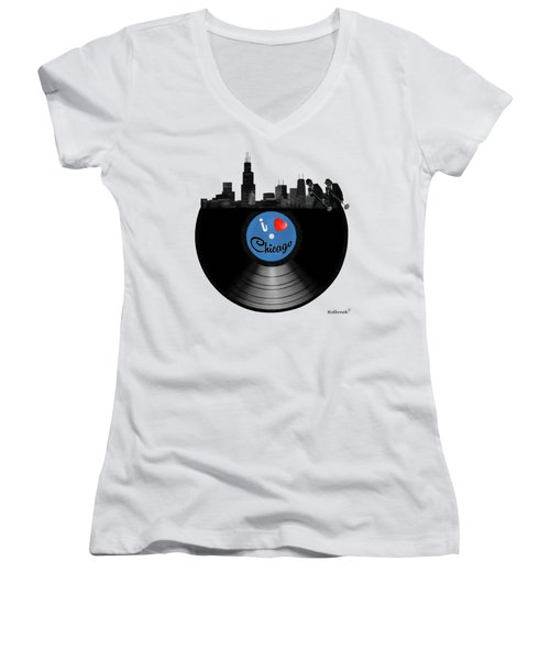 I Love Chicago Women's V-Neck T-Shirt (Junior Cut) by Glenn Holbrook