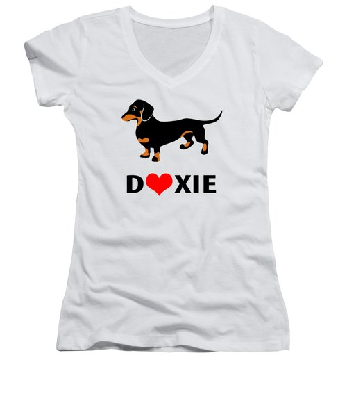 I Love My Doxie Women's V-Neck T-Shirt (Junior Cut) by Antique Images