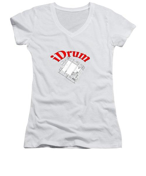 iDrum Women's V-Neck T-Shirt (Junior Cut) by M K  Miller
