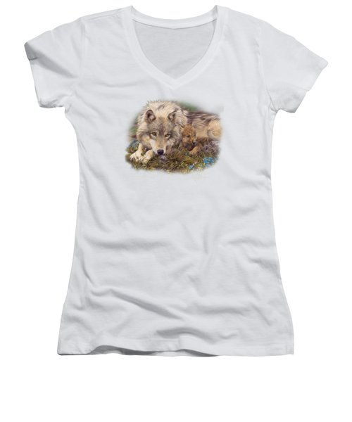In A Safe Place Women's V-Neck T-Shirt (Junior Cut) by Lucie Bilodeau
