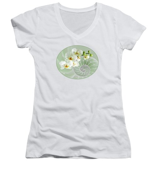 Intimate Fusion In Cool Green Women's V-Neck T-Shirt (Junior Cut) by Gill Billington