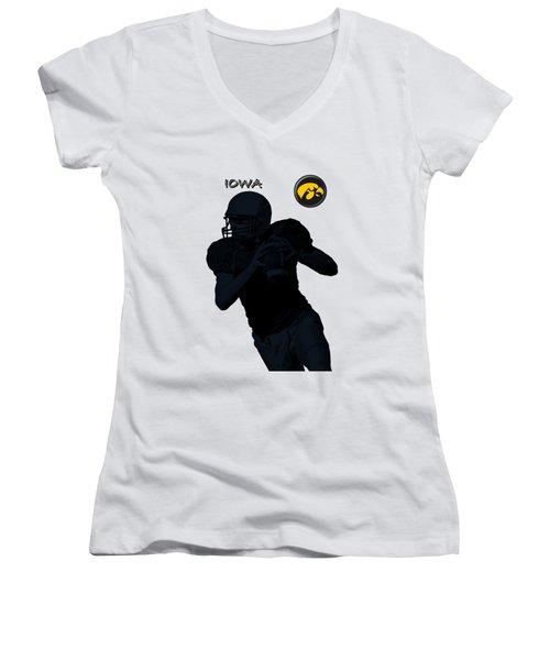 Iowa Football  Women's V-Neck T-Shirt (Junior Cut) by David Dehner
