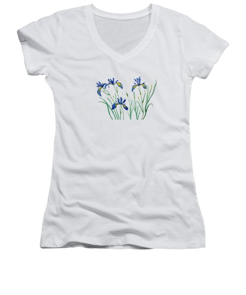 Iris In Japanese Style Women's V-Neck T-Shirt (Junior Cut) by Color Color
