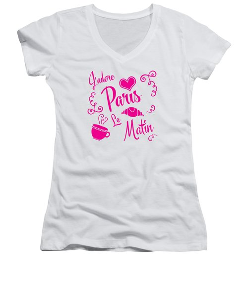 J'adore Paris Le Matin Women's V-Neck T-Shirt (Junior Cut) by Antique Images