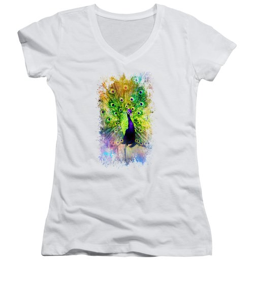 Jazzy Peacock Colorful Bird Art By Jai Johnson Women's V-Neck T-Shirt (Junior Cut) by Jai Johnson