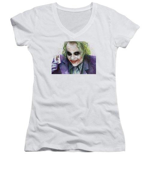 Joker Watercolor Portrait Women's V-Neck T-Shirt (Junior Cut) by Olga Shvartsur