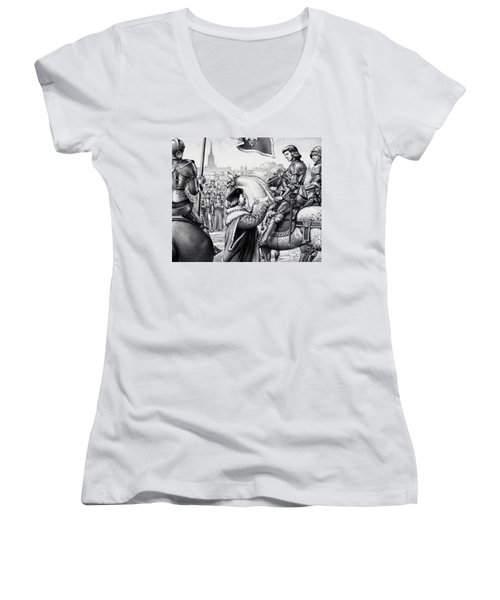 King Henry Vii Women's V-Neck T-Shirt (Junior Cut) by Pat Nicolle