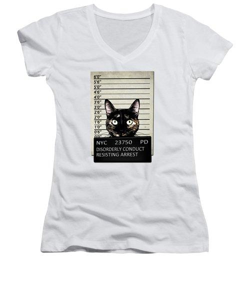 Kitty Mugshot Women's V-Neck T-Shirt (Junior Cut) by Nicklas Gustafsson