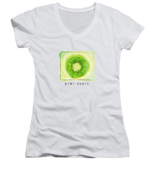 Kiwi Fruit Women's V-Neck T-Shirt (Junior Cut) by Kathleen Wong