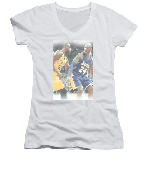 Kobe Bryant Lebron James 2 Women's V-Neck T-Shirt (Junior Cut) by Joe Hamilton