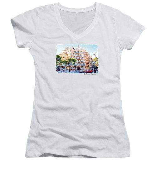 La Pedrera Barcelona Women's V-Neck T-Shirt (Junior Cut) by Marian Voicu