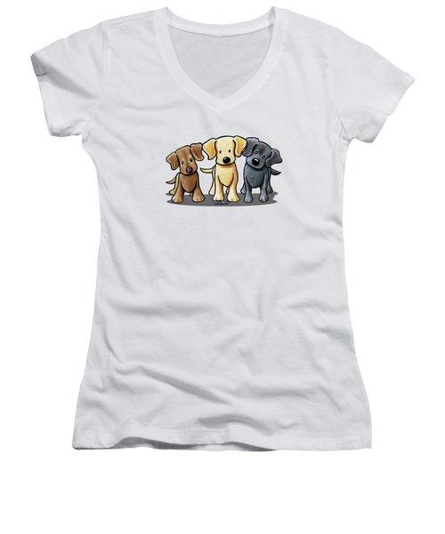 Labrador Beach Trio Women's V-Neck T-Shirt (Junior Cut) by Kim Niles