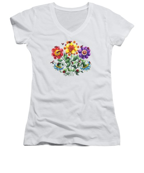 Ladybug Playground Women's V-Neck T-Shirt (Junior Cut) by Shelley Wallace Ylst