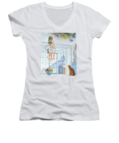 Lanterns Women's V-Neck T-Shirt (Junior Cut) by Timothy Easton