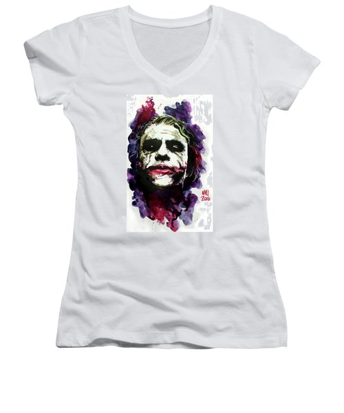 Ledgerjoker Women's V-Neck T-Shirt (Junior Cut) by Ken Meyer jr
