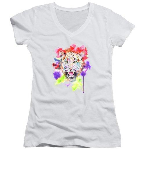Leopard Women's V-Neck T-Shirt (Junior Cut) by Isabel Salvador
