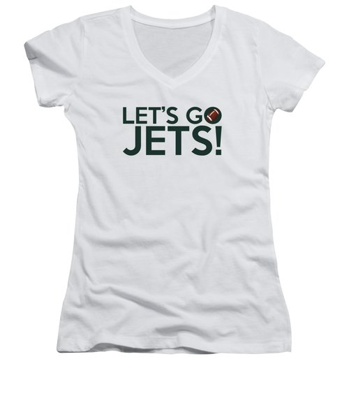 Let's Go Jets Women's V-Neck T-Shirt (Junior Cut) by Florian Rodarte