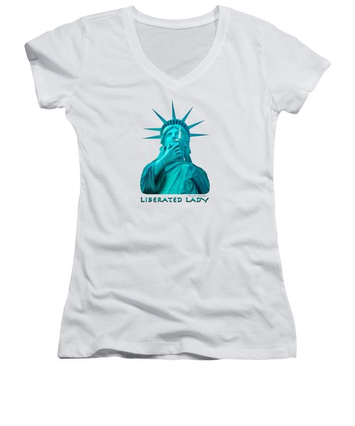 Liberated Lady 3 Women's V-Neck T-Shirt (Junior Cut) by Mike McGlothlen