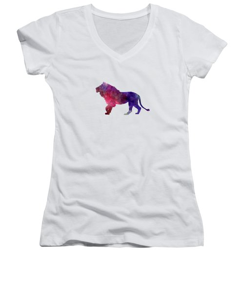 Lion 01 In Watercolor Women's V-Neck T-Shirt (Junior Cut) by Pablo Romero