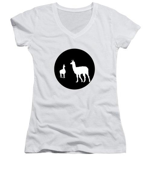 Llamas Women's V-Neck T-Shirt (Junior Cut) by Mordax Furittus