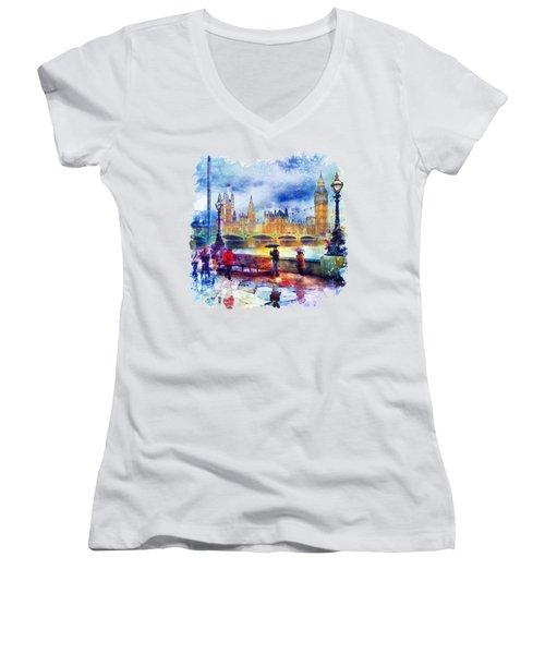 London Rain Watercolor Women's V-Neck T-Shirt (Junior Cut) by Marian Voicu