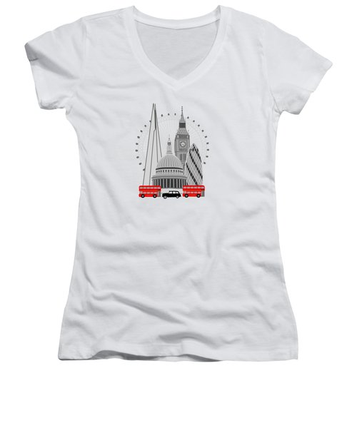 London Scene Women's V-Neck T-Shirt (Junior Cut) by Imagology Design
