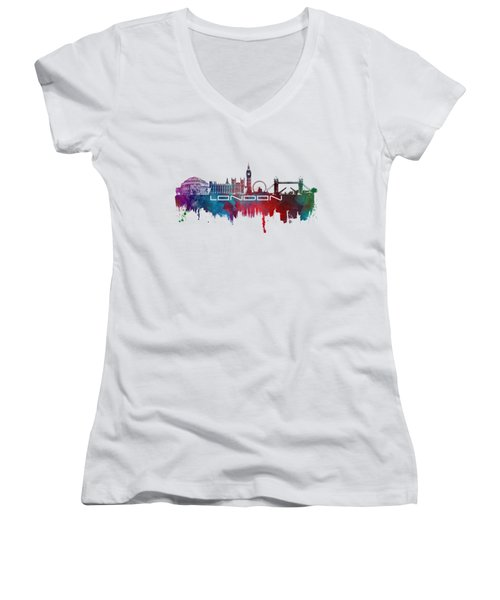 London Skyline City Blue Women's V-Neck T-Shirt (Junior Cut) by Justyna JBJart