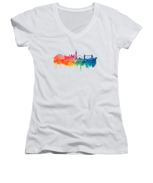 London Skyline City Color Women's V-Neck T-Shirt (Junior Cut) by Justyna JBJart