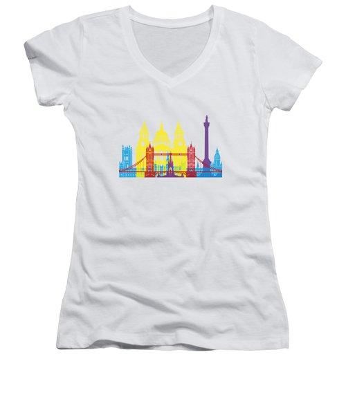 London Skyline Pop Women's V-Neck T-Shirt (Junior Cut) by Pablo Romero