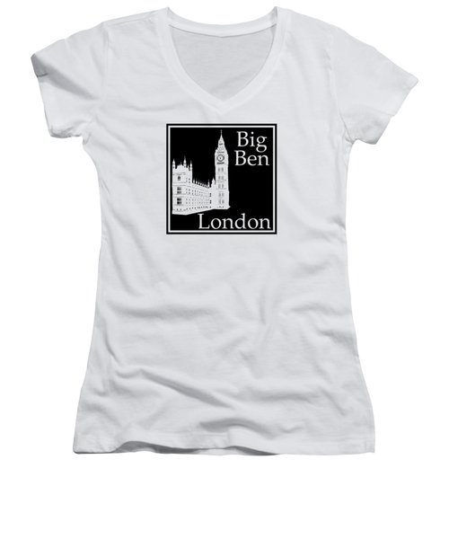 London's Big Ben In Black Women's V-Neck T-Shirt (Junior Cut) by Custom Home Fashions