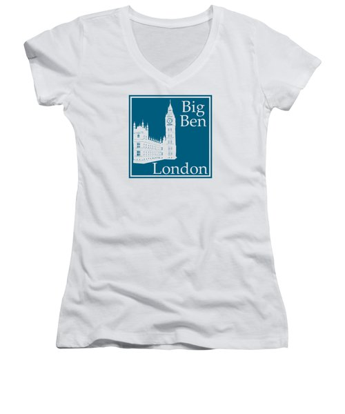 London's Big Ben In Blue Lagoon Women's V-Neck T-Shirt (Junior Cut) by Custom Home Fashions