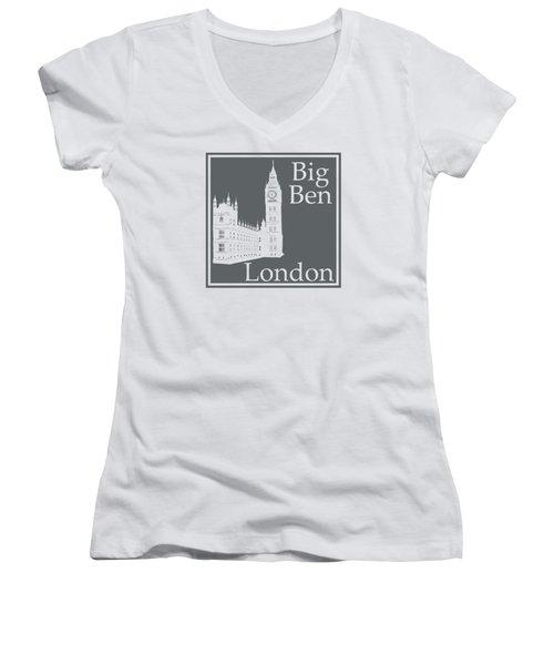 London's Big Ben In Storm Gray Women's V-Neck T-Shirt (Junior Cut) by Custom Home Fashions