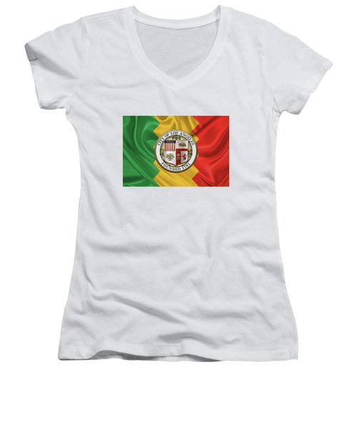 Los Angeles City Seal Over Flag Of L.a. Women's V-Neck T-Shirt (Junior Cut) by Serge Averbukh