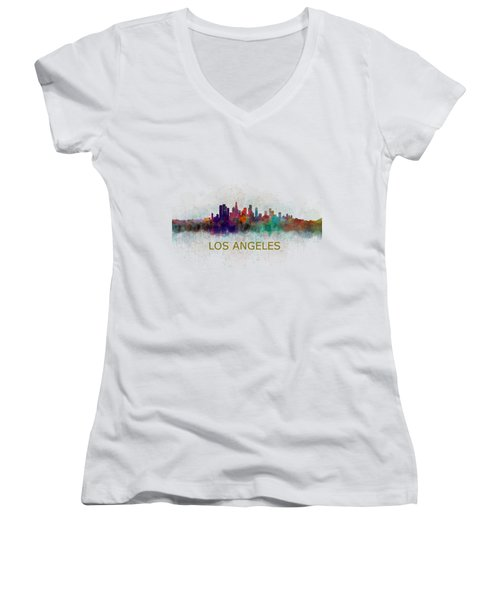 Los Angeles City Skyline Hq V4 Women's V-Neck T-Shirt (Junior Cut) by HQ Photo